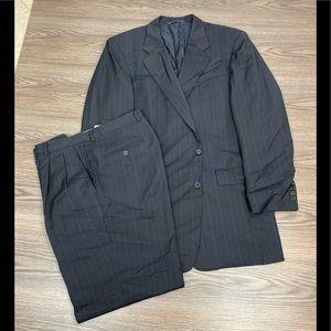Hickey Freeman Black w/ Red Pinstripe Suit 40R